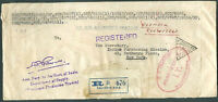 BRITISH INDIA TO USA Registered Official Cover 1941 VF