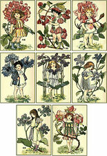 Vintage flower children Nellie Benson small cards set of 8 with envelopes