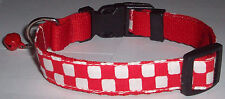 Checkers COLLAR Cat Dog Small Pet Cute Puppy Kitten Bell Mini Red White Ska Cool