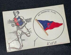 1908 University of Pennsylvania VTG Postcard MY FAVORITE FLAG Saxe Embroidery