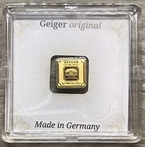 1 Gram Geiger Original Square .999 Fine Gold Bar In Assay (X907)