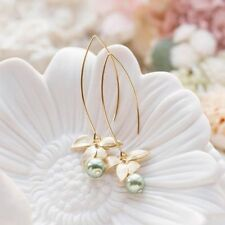 Orchid Flower Sage Green Pearl Earring Hook Dangle Ear Stud Jewelry Chic