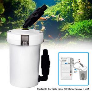 White External Aquarium Canister Filter Efficiency Fish Tank Bucket 6W 400L/h