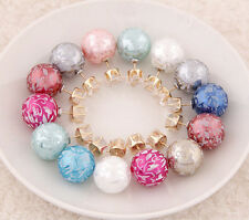 Lots1Set 10Pair Candy Rainbow Double Side Two Ball Earring Stud Print Zircon