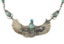 Winged Serpent Egyptian God, c1920 Sterling Silver Turquoise Necklace Wadjet