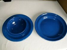 Blue Enamel Plates And Bowl - Excellent Condition