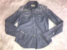 Ralph Lauren Denim & Supply Denim Long Sleeve Pearl Snap Button Up Sz XS Western