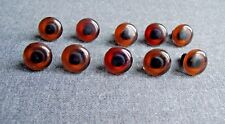 10 Pcs Vintage 70'S Plastic With Hole For Sewing Brown Bears & Dolls Eyes #A