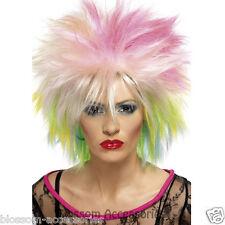 W305 80s Attitude Rainbow Wig Disco Diva Party Multicoloured Punk Accessory
