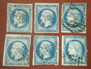 SIX EARLY FRENCH STAMPS, EARLY 1850'S. NAPOLEAN III, 20 FRANC, 25 FRANC