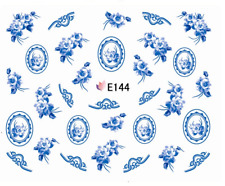 Nail Art 3D Decals Transfers Stickers Blue Flowers (E144)