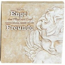 Poesie-Stein mit Spruch - Weil wir Engel ohne Flügel nicht..., 15 x 15cm