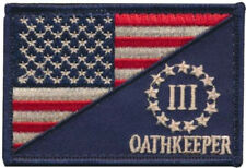 USA Flag / Three Percent Oathkeeper Us Militray Tactical Morale Hook Patch