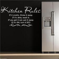 Reglas de la cocina adhesivo pared frase para mural Estarcido wsd506