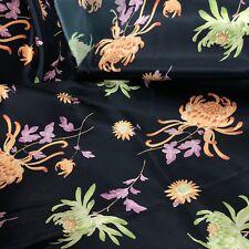 """Black Satin Floral Fabric 2.5 Yard X 42"""" Wide Orange Purple Green Spider Mum"""