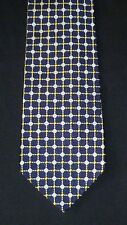 Faconnable Blue Silver & Gold Diamond Geometric THICK Silk Tie, MI France