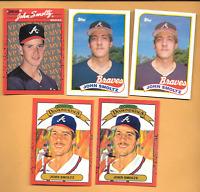 3- 1989 John Smoltz Error Rookies & 2 John Smoltz  Atlanta Braves Baseball Cards