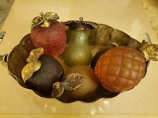 Antique Decorative Glass Fruit in Brass Bowl 7 pieces