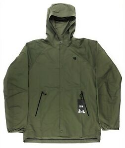 Mountain Hardwear Railay Shirt Rain Jacket Mens Hooded Long Sleeve Snap Green