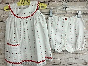 Vintage Mommy Made Baby Dress Bloomers Rickrack Red Hearts Floral Lace 3T ADORBS