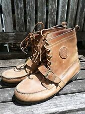 POLO COUNTRY Ralph Lauren buckle strap brown tanned leather boots 13D