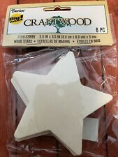"Craftwood 3.5"" x 3.5 "" x 3mm Blank Star Wood NEW"