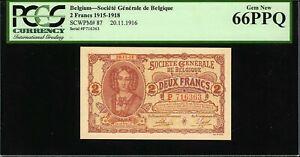 Belgium 2 Francs 1916 Pick-87 GEM UNC PCGS 66 PPQ ((VERY RARE))
