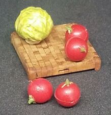 Miniature Dollhouse Shadowbox Cutting Board Tomatoes Lettuce Food Grocery Decor