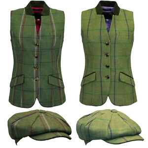 Game Womens Margate Check Tweed Hunting Shooting Ladies Jacket Gilet / Flat Cap