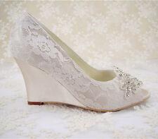 Handmade Champagne Lace Diamante Bridal Shoes Peep Toe Wedge Wedding Shoes UK3-8