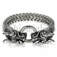Mens Black Silver Heavy Stainless Steel Double Dragon Head Clasp Bangle Bracelet