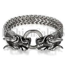 Мужские черные серебристые тяжелые из нержавеющей стали двойная голова дракона, застежка в виде браслета