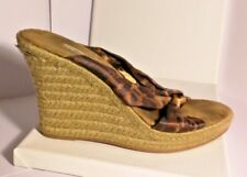 Metro 7 Brown and Leopard Hemp Heel Shoe with Tie Knot and Peep Toe Size 7.5