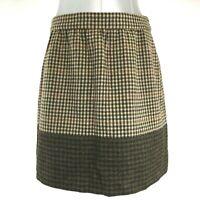 J. Crew 6 Med Skirt 100% Wool Multi Brown Plaid Check Color Block Above Knee LN