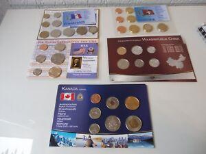 5 Münzsätze__Pièces en Cours : USA, France, Suisse, Canada, Chine