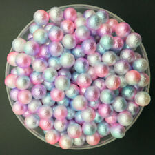 100PCS 6mm Light Colour NO HOLE Acrylic Round Pearl Spacer Loose Beads Jewelry