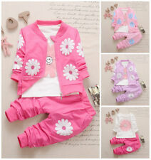 3pcs Baby Girls Clothes Jacket Coat+Tee +Pants Outfits Tracksuit Clothes