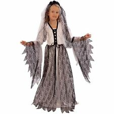 Girls Halloween Ghost Corpse Bride Costume Fancy Dress and Veil Outfit New 11-13