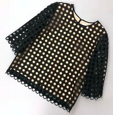 c1db1b62a8f1d Chloe Black Lace Cut Out Nude Pink Silk Blouse Summer Top Size FR 40 M US