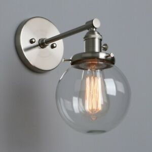 Edison Retro Industrial Globe Clear Glass LampShade Up Down Wall Sconce Lighting