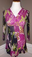 Sweet Pea By Stacy Frati S Fuchsia Green Gray Floral Print V-neck Nylon Top