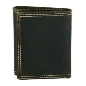 New Wrangler Men's Leather Textured Double Stitch Trifold Wallet