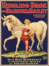 1930s Barnum & Bailey Hungarian Queen Vintage Circus Travel Art Poster Print