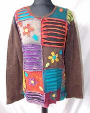FAIR TRADE ETHNIC HIPPY FESTIVAL PATCHWORK DESIGN LONG SLEEVE TOP M