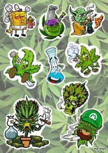 Cannabis Marijuana Weed Bong SpongeBob Yoda Luigi Characters Smoking Stickers