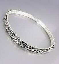 NEW Designer Style Silver Black Filigree Thin 4mm Stretch Stackable Bracelet