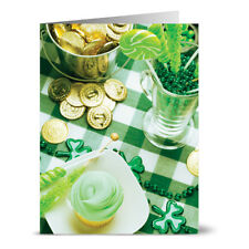 24 St. Patrick's Day Note Cards - Lucky Green Charms - Green Envs