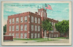 Marshfield Wisconsin~Purdy School Building~Vintage Postcard