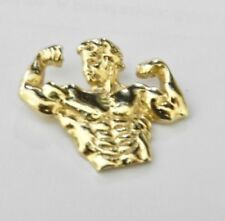 14K GOLD Work Out Weight Lifter Muscle PENDANT4.1GR Detailed *NEW*