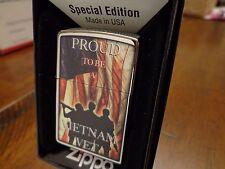 PROUD TO BE A VIETNAM VET VETERAN USA FLAG ZIPPO LIGHTER MINT IN BOX